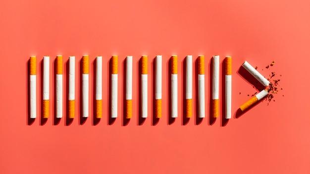 Vista superior adicción a los cigarrillos