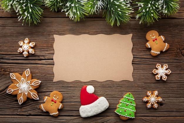 Vista superior adorno de navidad con maqueta