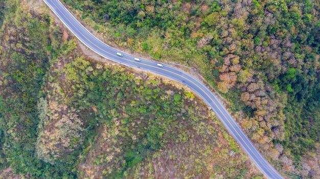 Vista superior aérea de una carretera en el bosque