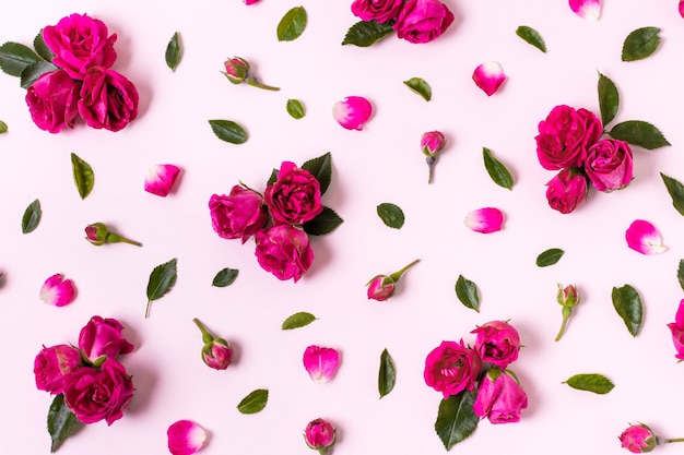 Vista superior agradable concepto de pétalos de rosa