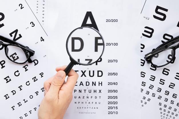 Vista superior del alfabeto y la tabla de números para consulta óptica
