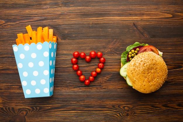 Vista superior amor vegano comida rápida