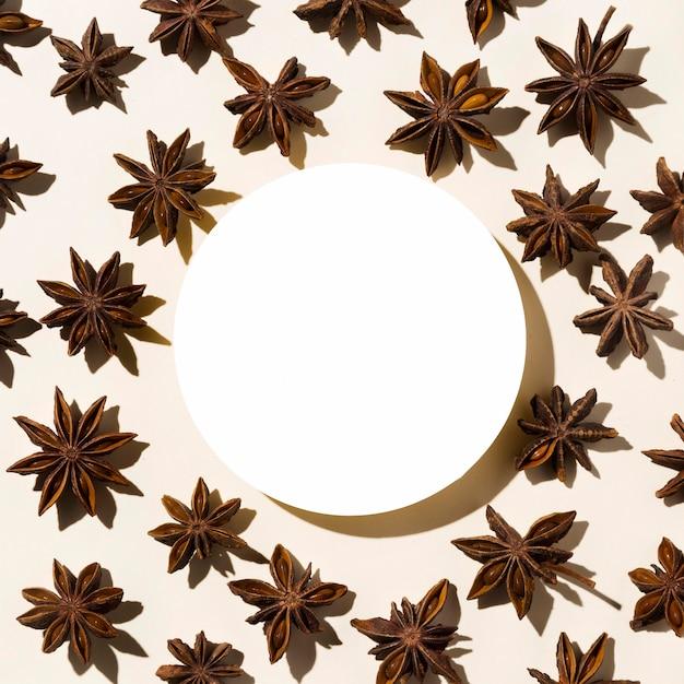 Vista superior del anís estrellado otoñal con círculo de papel