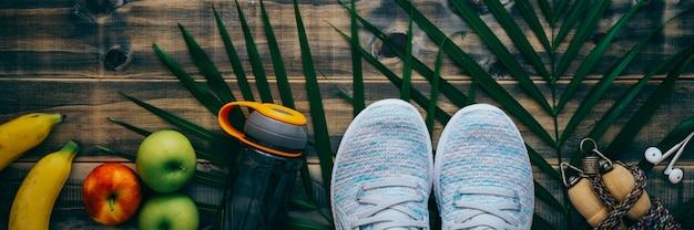 Vista superior de la aptitud activa saludable y el concepto de estilo de vida de entrenamiento.
