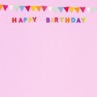 Vista superior arreglo de marco de cumpleaños con espacio de copia