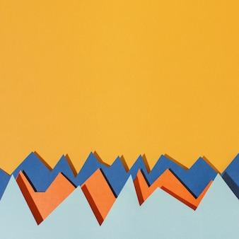 Vista superior arreglo de papel de colores