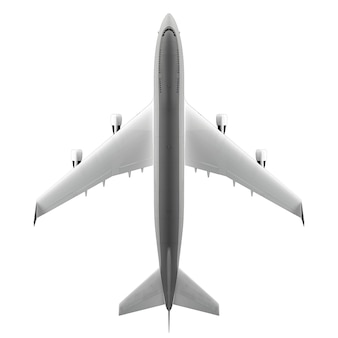 Vista superior del avión de pasajeros grande aislado en superficie blanca