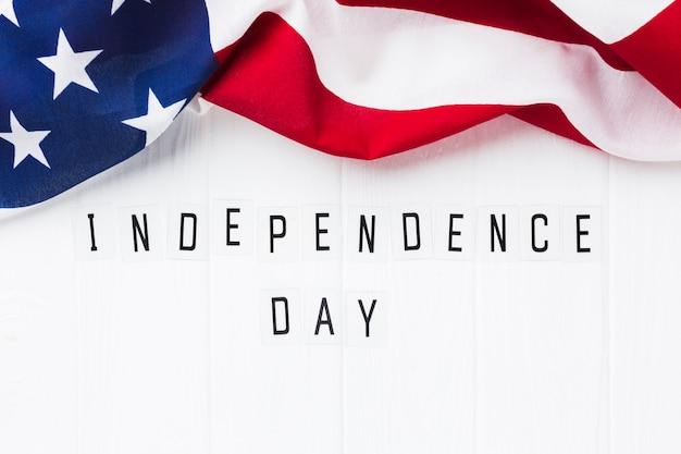 Vista superior de la bandera americana para la celebración del día de la independencia