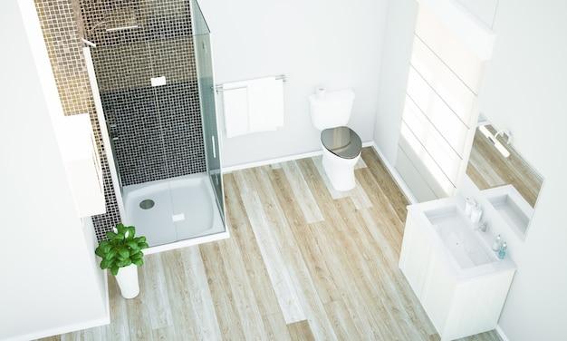Vista superior de un baño minimalista