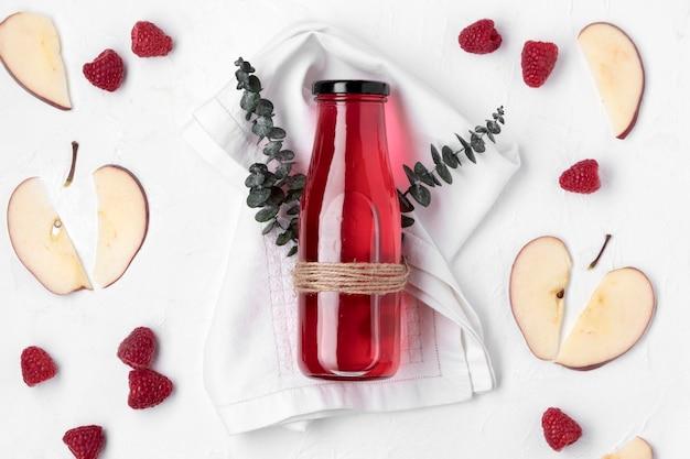 Vista superior bebida de frutas detox
