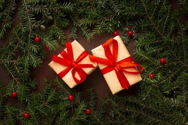Vista superior bonitos regalos de navidad