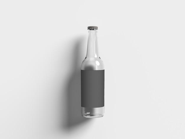 Vista superior de la botella de cerveza vacía aislada en blanco. concepto de oktoberfest.