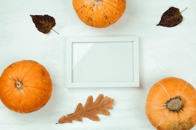 Vista superior de calabaza, hojas de otoño y maqueta marco de madera blanca