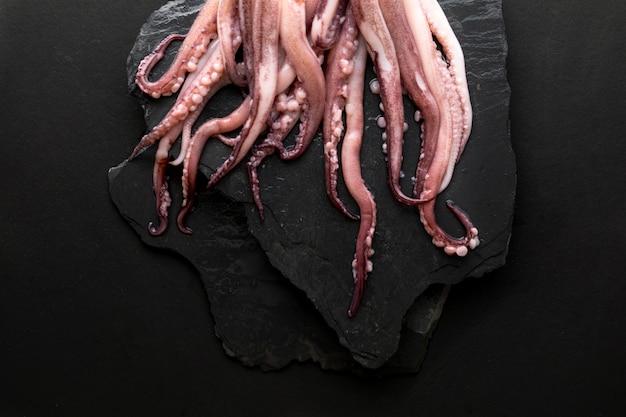 Vista superior de calamar en pizarra