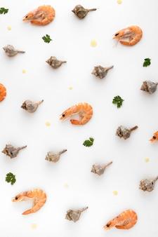 Vista superior de camarones con otras conchas marinas.