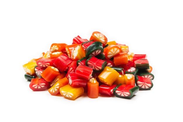 Vista superior de caramelos gomosos surtidos y dulces de gelatina