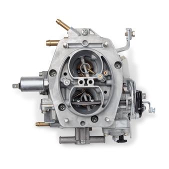 Vista superior del carburador de automóvil para motor de combustión interna para mezclar aire con una fina pulverización de combustible líquido, aislado sobre fondo blanco. piezas de automóviles.