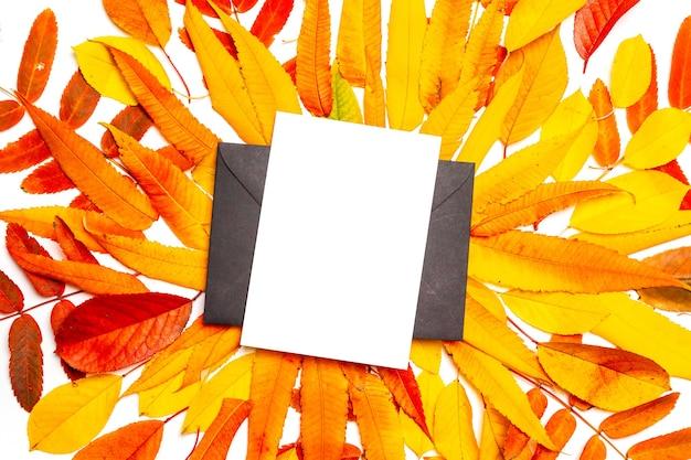 Vista superior de la carta en blanco de la maqueta o postal en sobre negro en hojas de otoño