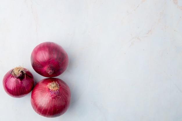 Vista superior de cebollas rojas en el lado izquierdo sobre fondo blanco con espacio de copia