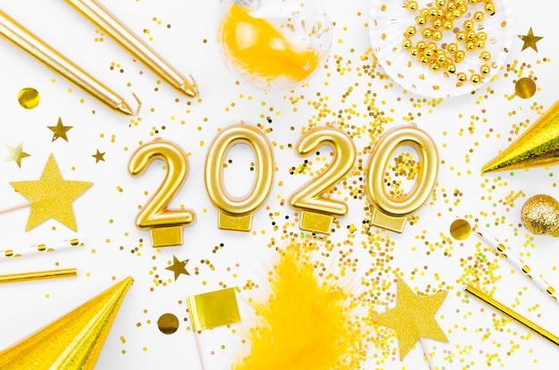 Vista superior de celebración de año nuevo 2020