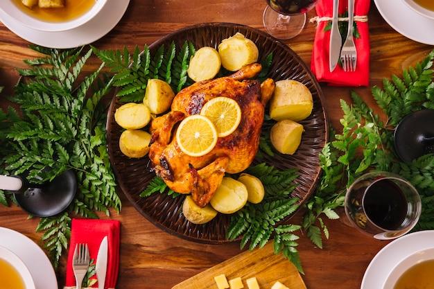 Vista superior de cena de navidad deliciosa