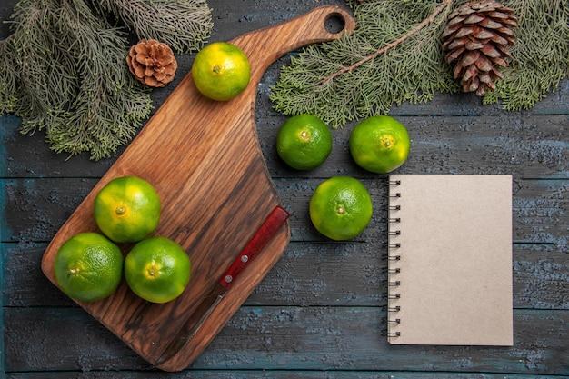 Vista superior de cerca las limas y las ramas cuatro limas de color amarillo verdoso y un cuchillo en la tabla de cortar junto al cuaderno de limas y las ramas y conos de los árboles