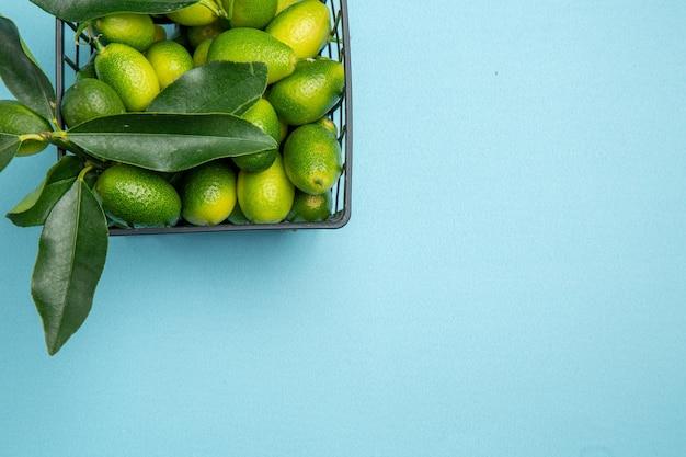 Vista superior de la cesta de frutas cítricas de los apetitosos cítricos verdes con hojas