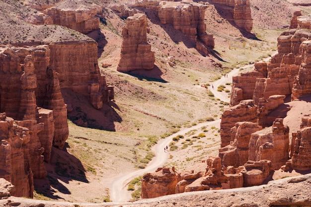 Vista superior de charyn canyon: la formación geológica consiste en una increíble gran piedra de arena roja. parque nacional charyn. kazajstán.