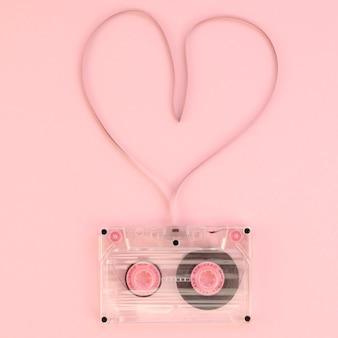 Vista superior de la cinta de cassette de amor