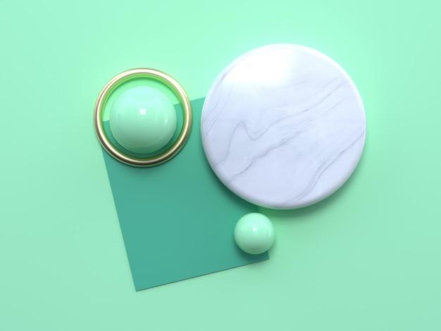Vista superior del círculo de mármol y esferas verdes