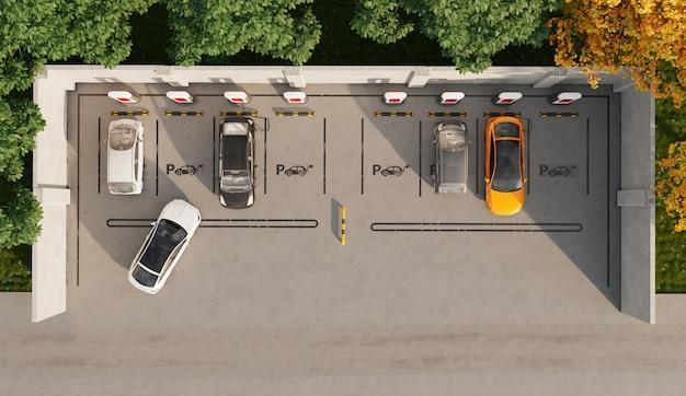 Vista superior de coches eléctricos en el estacionamiento.