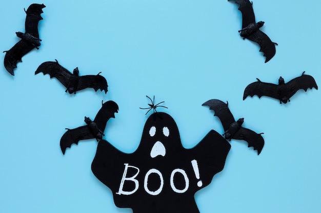 Vista superior colección de elementos de halloween