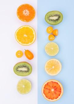 Vista superior colección de frutas frescas