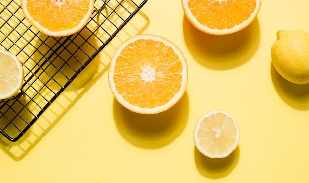 Vista superior colección de frutas orgánicas