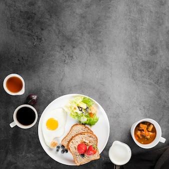 Vista superior colección de menú de desayuno