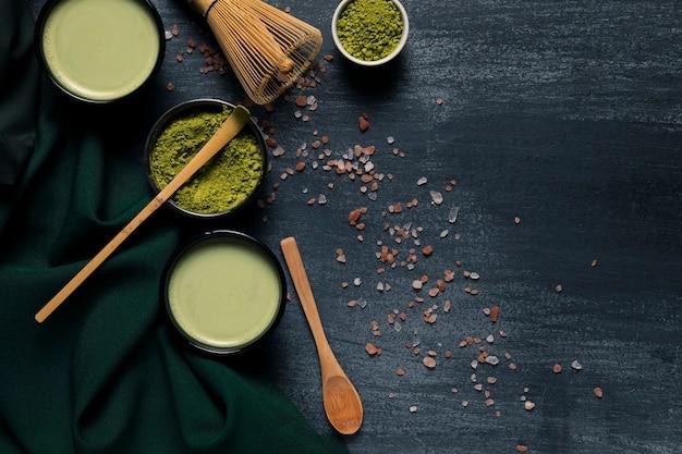 Vista superior colección de té verde tradicional