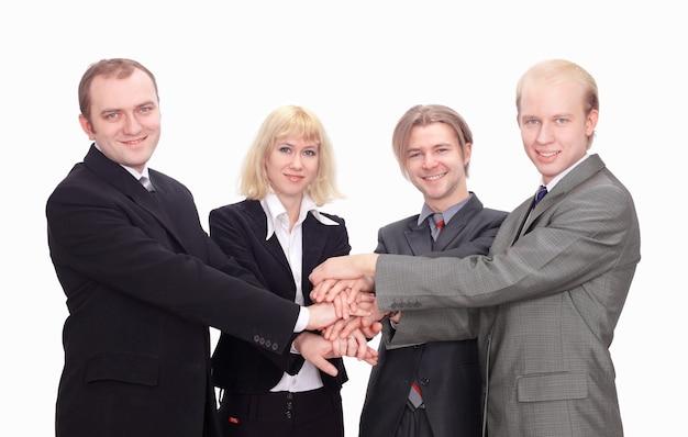 Vista superior de colegas de negocios felices con sus manos juntas gesticulando unidad