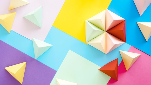 Vista superior colorida colección geométrica