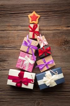 Vista superior colorido conjunto de regalos