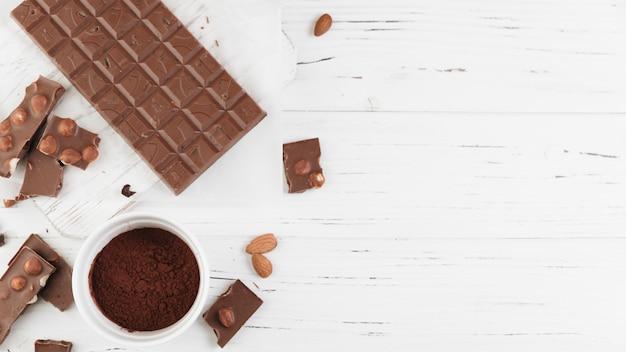 Vista superior comida de chocolate