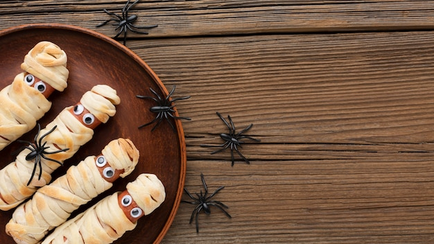 Vista superior de comida de halloween con espacio de copia