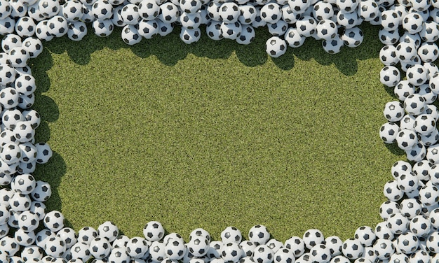 Vista superior de la composición con balones de fútbol.