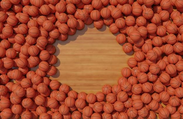 Vista superior de la composición con pelotas de baloncesto.