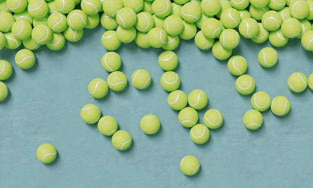 Vista superior de la composición con pelotas de tenis