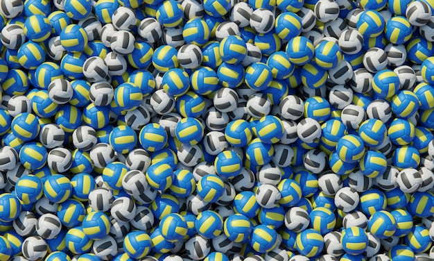 Vista superior de la composición con pelotas de voleibol.