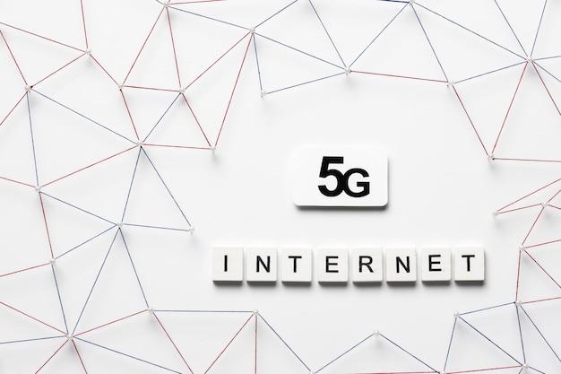 Vista superior de la comunicación por internet 5g