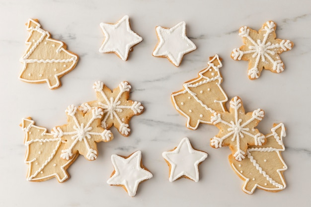 Vista superior del concepto de arreglo de cookies