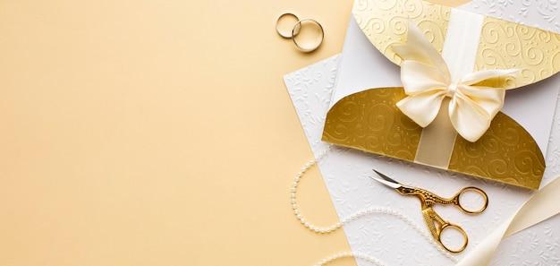 Vista superior del concepto de boda de lujo