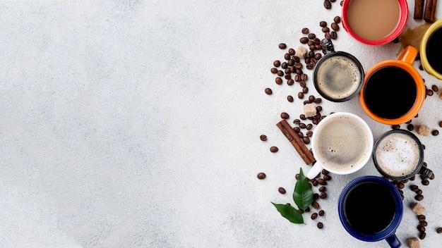 Vista superior del concepto de café con espacio de copia