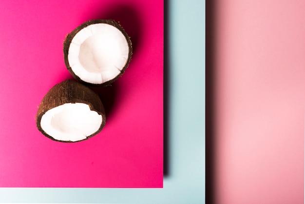 Vista superior del concepto de coco